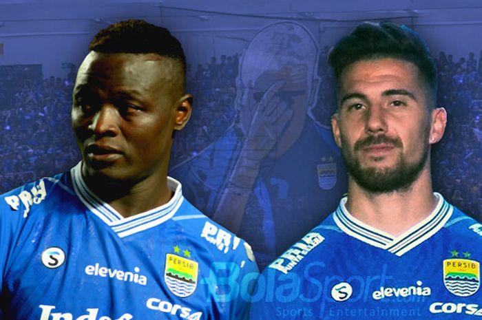 Duet lini depan Persib Bandung di Liga 1 2018, Ezechiel N'Douasel dan Jonathan Bauman.