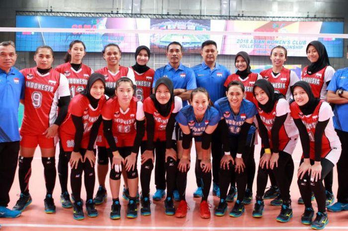 Tim nasional voli putri Indonesia yang menamakan diri Tim Garuda ketika berlaga pada Asian Women's Club Volleyball Championship 2018 di Oskemen, Kazakhstan.