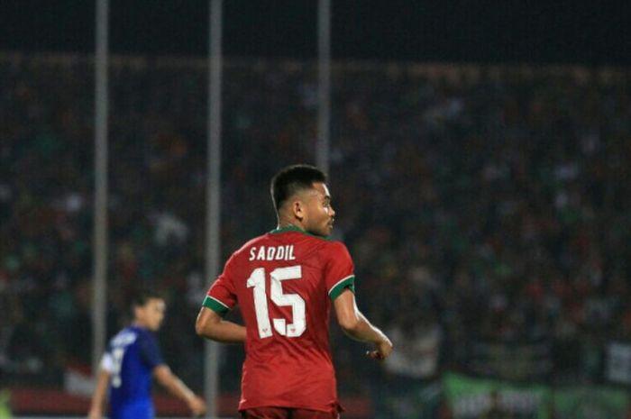 Momen Saddil Ramdani dalam laga timnas U-19 Indonesia kontra Thailand di Stadion Gelora Delta Sidoarjo, Senin (9/7/2018).