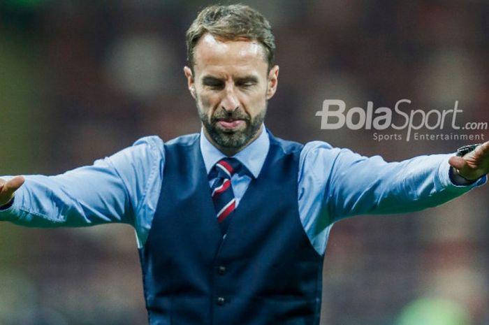 Ekspresi pelatih Inggris, Gareth Southgate, usai timnya dikalahkan Kroasia dengan skor 1-2 pada babak semifinal Piala Dunia 2018.