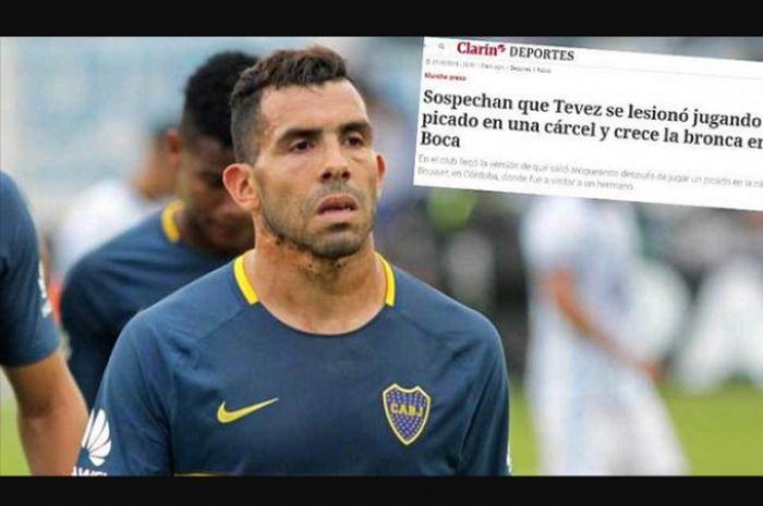 Carlos Tevez dikabarkan cedera hingga absen dari Boca Juniors selama 3 minggu