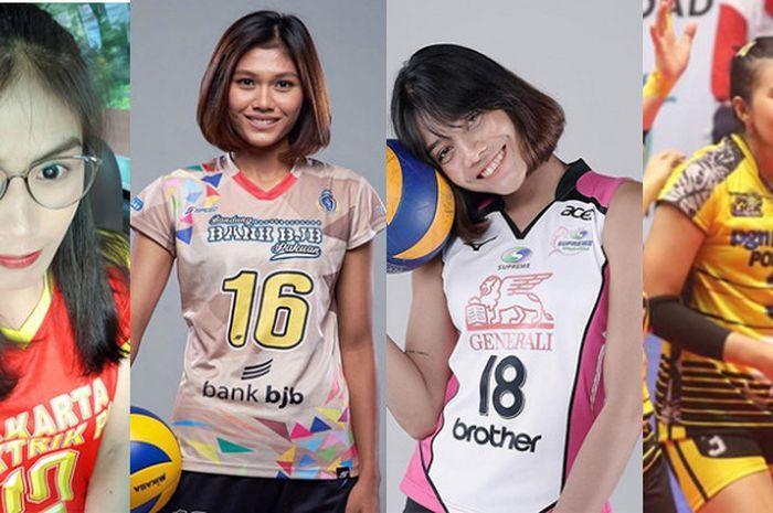 Deretan 4 pemain putri Thailand yang tampil dalam Proliga 2019, (dari ki-ka) Jutarat Montripila, Pimpichaya Kokram, Ajcharaporn Kongyot, dan Pimpichaya Kokram.