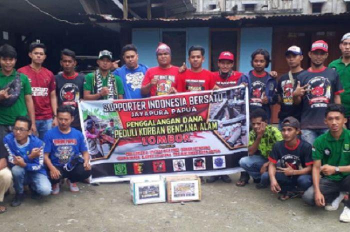 K-Conk Jayapura menggelar aksi penggalangan dana untuk korban gempa di Lombok, Minggu (12/8/2018).