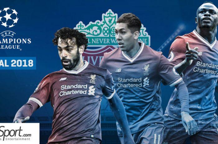 Trio penyerang Liverpool FC, Mohamed Salah, Roberto Firmino, dan Sadio Mane menuju final Liga Champions 2017-2018.