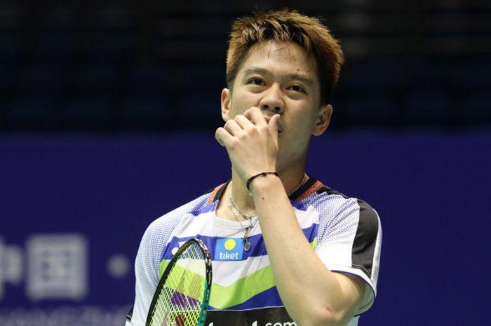 Pebulu tangkis ganda putra Kevin Sanjaya Sukamuljo saat bertanding dengan pasangannya, Marcus Fernaldi Gideon, pada babak kedua turnamen China Open 2018 di Olympic Sports Center Xincheng Gymnasium, Changzhou, Rabu (20/9/2018).