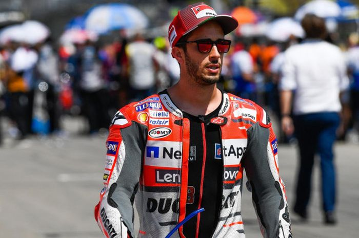 Andrea Dovizioso saat gelaran MotoGP Jerman di Sirkuit Sachsenring, Jerman, Minggu (15/7/2018).