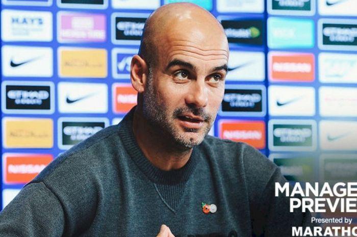 Pelatih Manchester City, Pep Guardiola, berbicara dalam konferensi pers jelang pertandingan melawan Southampton yang akan berlangsung di Stadion Etihad, Minggu (4/11/2018) malam WIB.