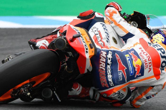 Marc Marquez saat tampil pada kualifikasi MotoGP Jepang di Twin Ring Motegi, Jepang, Sabtu (20/10/2018).