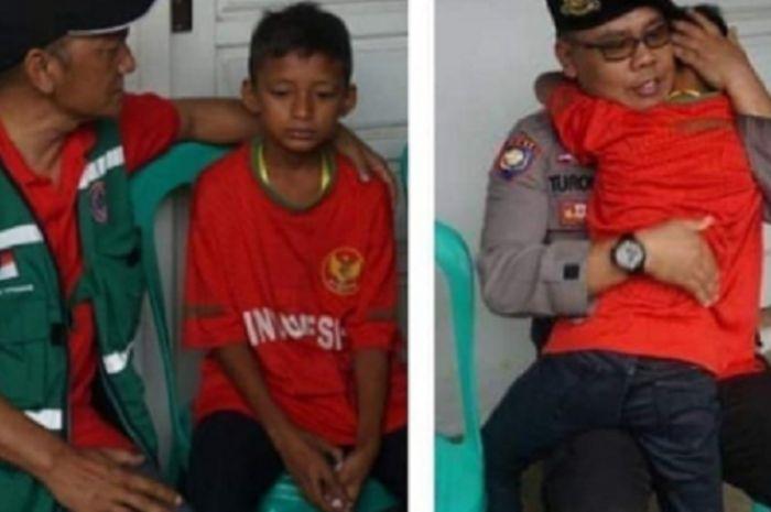 Pesepak bola cilik bernama Aditia harus kehilangan ibu dan adiknya yang menjadi korban musibah tsunami Lampung dan Banten, Sabtu (22/12/2018).