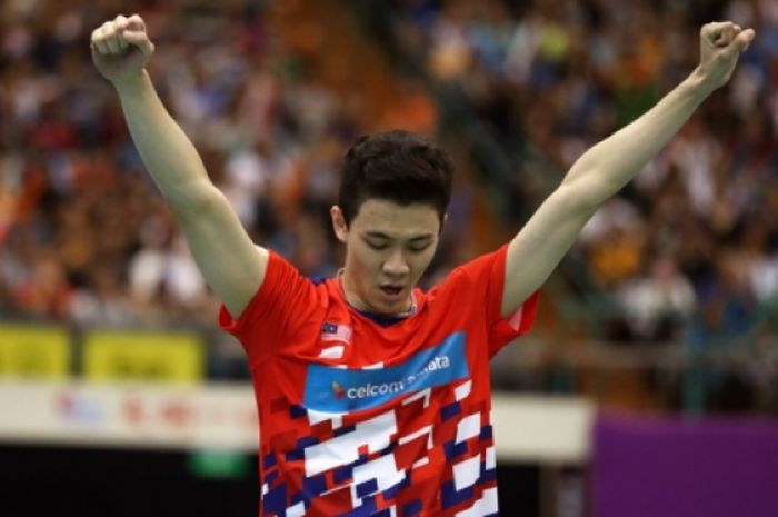 Ekspresi tunggal putra Malaysia, Lee Zii Jia, setelah memenangi Chinese Taipei Open 2018.