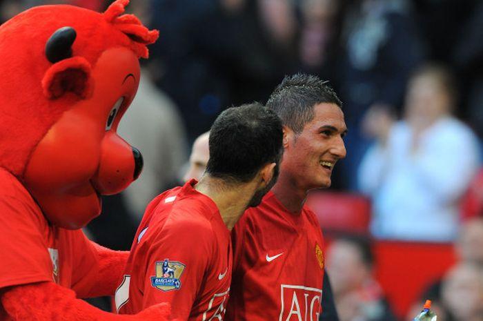 Striker Manchester United, Federico Macheda, setelah mencetak gol penentu kemenangan 3-2 Manchester
