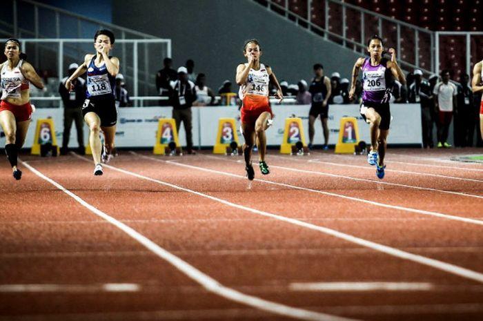 Para atlet lari dari kawasan Asia turun pada test event cabang olahraga atletik untuk Asian Games 2