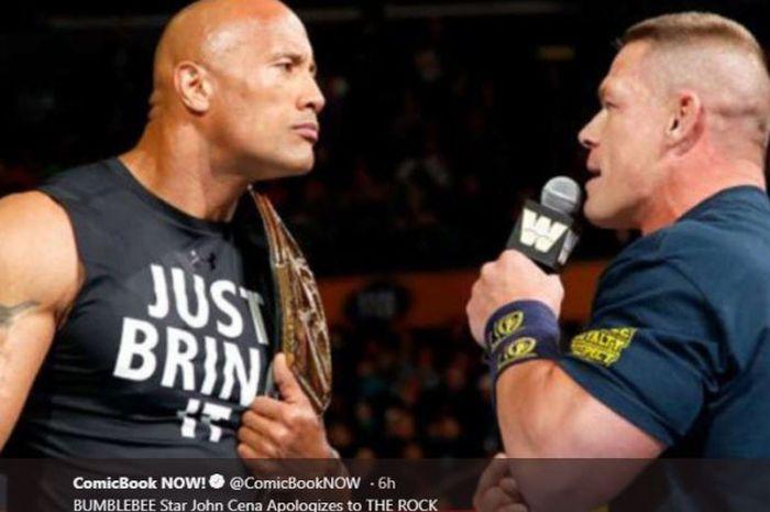 John Cena (kanan) dan The Rock.
