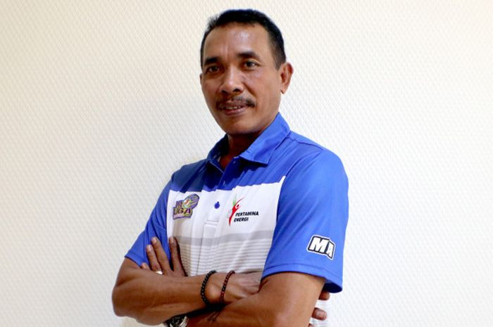 Pelatih tim bola voli putri Jakarta Pertamina Energi, Muhammad Ansori.