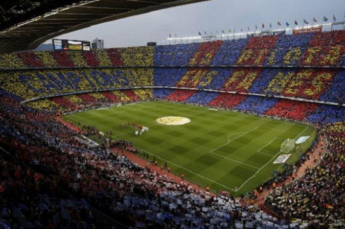Suasana Stadion Camp Nou pada laga El Clasico, Barcelona vs Real Madrid, Mei 2018.