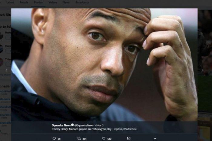 Kedatangan Thierry Henry sebagai pelatih anyar tak serta merta membuat nasib AS Monaco membaik, justru kini mereka tak pernah menang dalam lima laga terakhir setelah kalah dari Club Brugge di Liga Champions (6/11/2018)