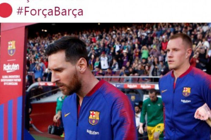 Megabintang FC Barcelona, Lionel Messi (kiri).