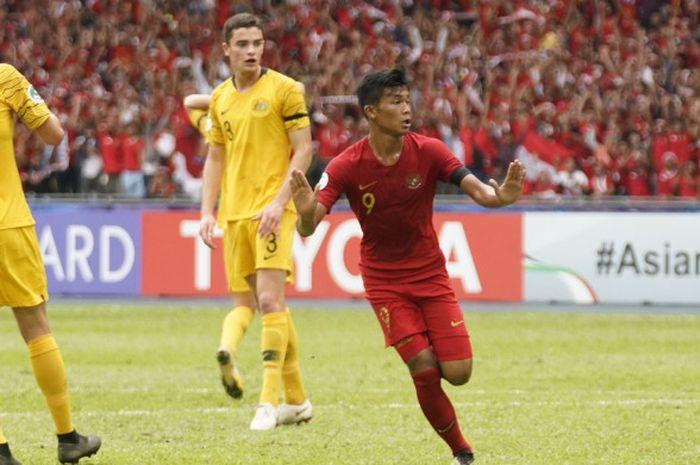 Aksi Sutan Zico dalam laga Timnas U-16 Indonesia vs Australia pada perempat final Piala Asia U-16 2018 di Stadion Bukit Jalil, 1 Oktober 2018.