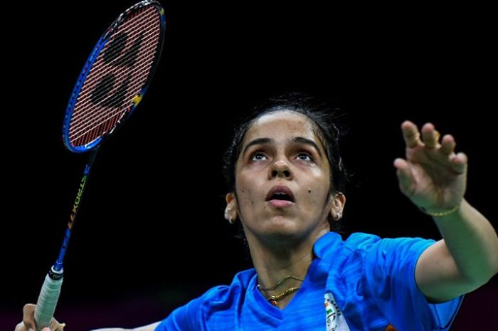 Pebulu tangkis tunggal putri India, Saina Nehwal, pada babak perempat final Commonwealth Games 2018 yang berlangsung di Carrara Sports and Leisure Centre, Gold Coast, Australia, Jumat (13/4/2018).