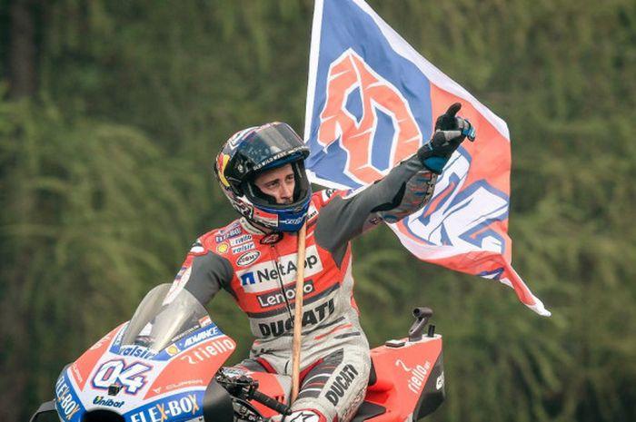 Selebrasi Andrea Dovizioso (Ducati) usai berhasil memenangi balapan MotoGP Republik Ceska 2018 yang berlangsung Minggu (5/8/2018).
