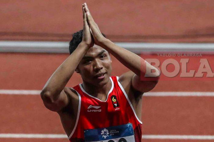 Sprinter asal Indonesia, Lalu Muhammad Zohri bereaksi seusai final nomor lari 100 meter putra cabang