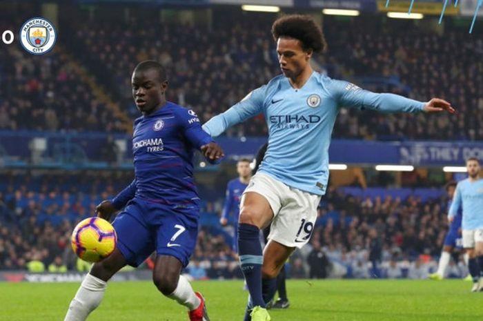 Gelandang Chelsea, N'Golo Kante (kiri), berduel dengan penyerang Manchester City, Leroy Sane, dalam