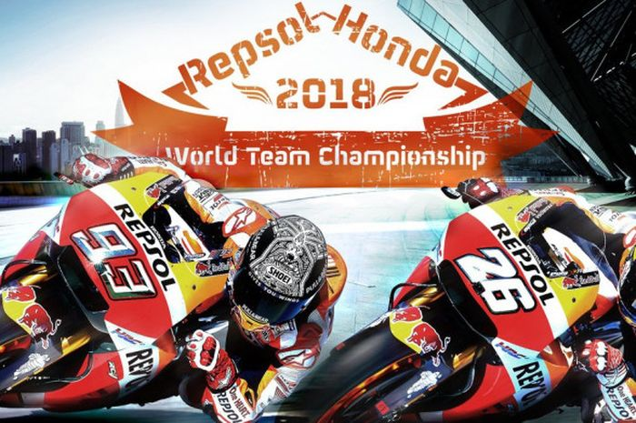 Marc Marquez (kiri) dan Dani Pedrosa (kanan) sukses membawa Tim Repsol Honda menjadi juara dunia tim MotoGP 2018.