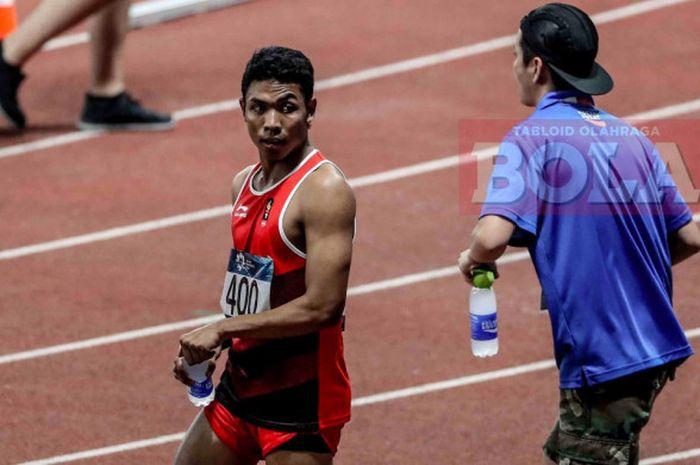 Sprinter asal Indonesia, Lalu Muhammad Zohri bereaksi sehabis final nomor lari 100 meter putra