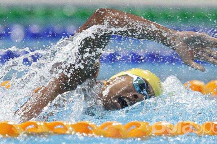 Perenang Indonesia, Aflah Fadlan Prawira meraih perak pada nomor 400 meter gaya bebas putra di SEA G