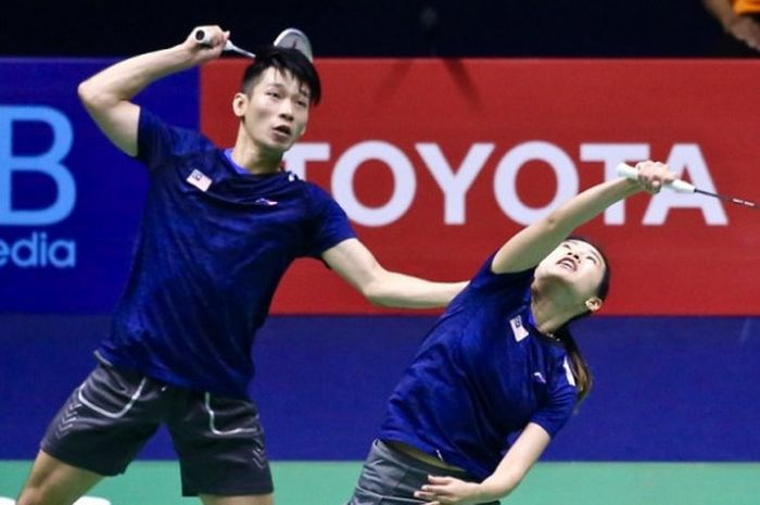 Pasangan ganda campuran Malaysia, Chan Peng Soon/Goh Liu Ying, pada final Thailand Masters 2019 di I
