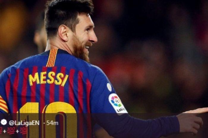 Kapten Barcelona, Lionel Messi, dalam partai melawan Eibar di Camp Nou pada Minggu (13/1/2018)