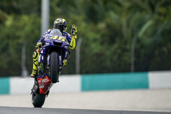 Valentino Rossi saat sesi latihan bebas MotoGP Malaysia di Sirkuit Sepang, Malaysia, Jumat (2/11/2018).