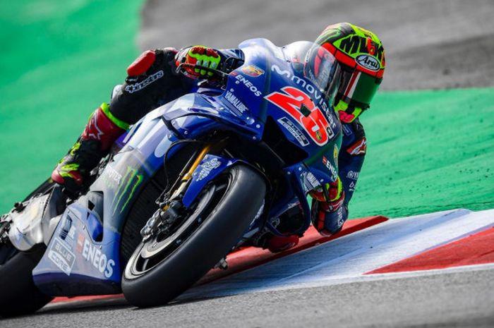 Momen saat Maverick Vinales (Movistar Yamaha) menjalani saslah satu sesi MotoGP Catalunya 2018 yang berlangsung pada Sabtu (16/6/2018).
