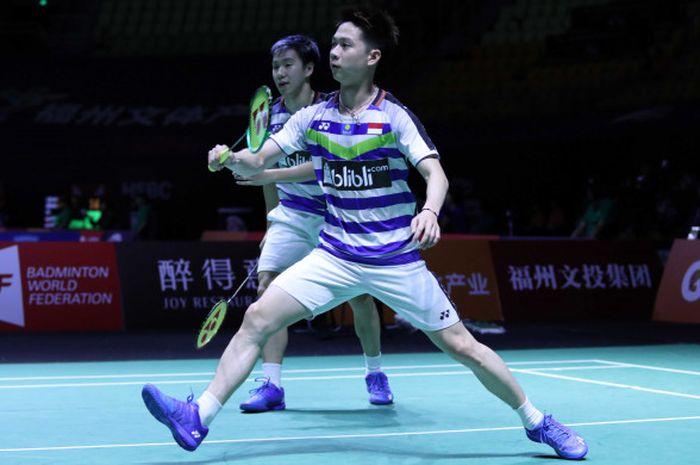 Ganda putra Indonesia, Marcus Fernaldi Gideon/Kevin Sanjaya Sukamuljo, saat tampil pada babak 16 besar Fuzhou China Open 2018 yang digelar Kamis (8/11/2018).