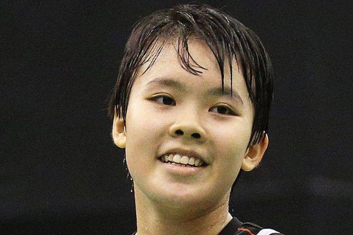 Ekspresi Goh Jin Wei pada gelaran Singapura International Series 2017.