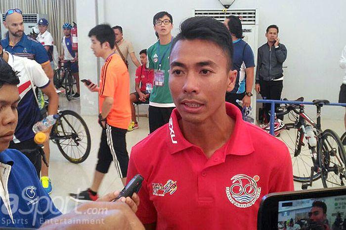 Jauhari Johan, atlet triathlon Indonesia asal Suamtera Selatan siap turun untuk merebut medali pada Asian Games 18 Agustus 2018.