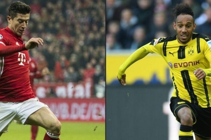 Striker Bayern Muenchen, Robert Lewandowski (kiri), dan penyerang Borussia Dortmund, Pierre-Emerick Aubameyang, bersaing ketat di pekan terakhir dalam jalur persaingan raja gol Bundesliga 2016-2017.