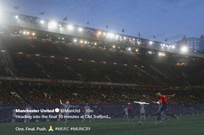 Manchester United menjamu Crystal Palace dalam laga Liga Inggris di Stadion Old Trafford, Manchester