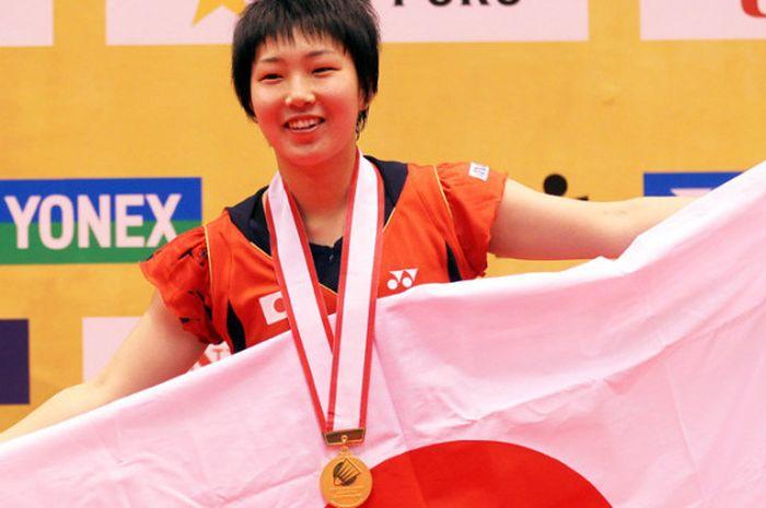 Tunggal putri Jepang, Akane Yamaguchi, saat menjuarai Japan Open 2013