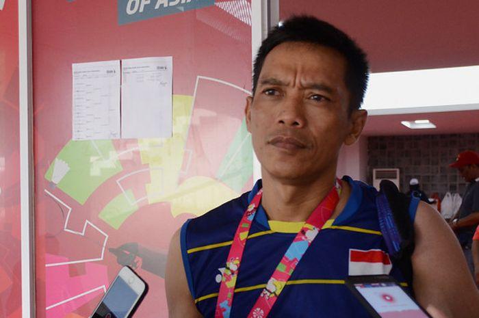 Atlet Para Badminton, Ukun Rukaendi pada saat ditemui awak media setelah latihan selesai dalam persi