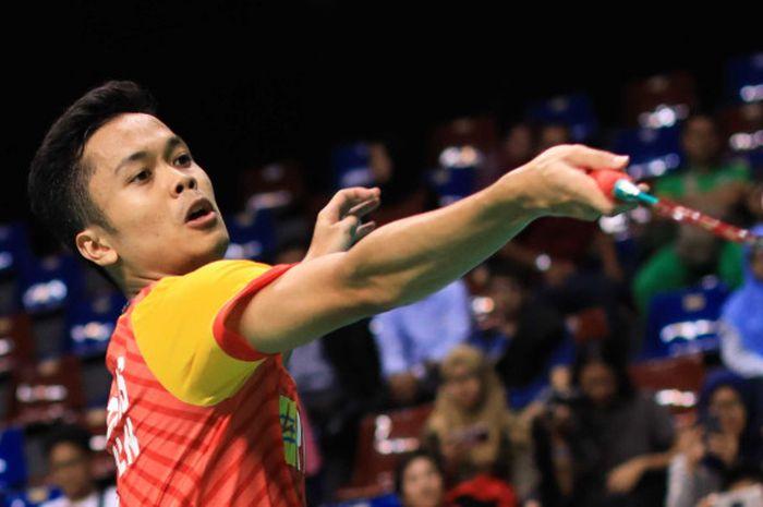 Pebulu tangkis tunggal putra nasional, Anthony Sinisuka Ginting, tampil membela SGS PLN Bandung pada Kejurnas PBSI 2018, di Britama Arena, Jakarta, Selasa (18/12/2018).