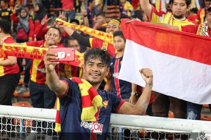 Selebrasi Ilham Udin selepas laga seusai timnya, Selangor FA memenangi semifinal Piala FA Malaysia 2018 atas PKNS FC di Stadion Shah Alam, 30 Juni 2018.