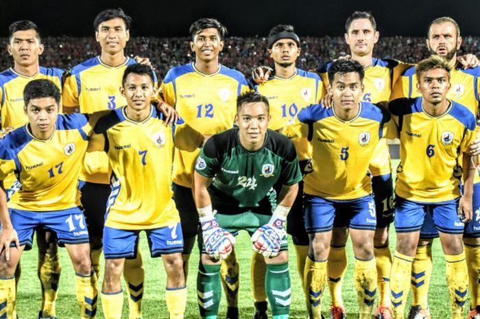 Tim Tampines Rovers FC dalam menyempatkan berfoto sebelum laga kontra tuan rumah Bali United sebelum