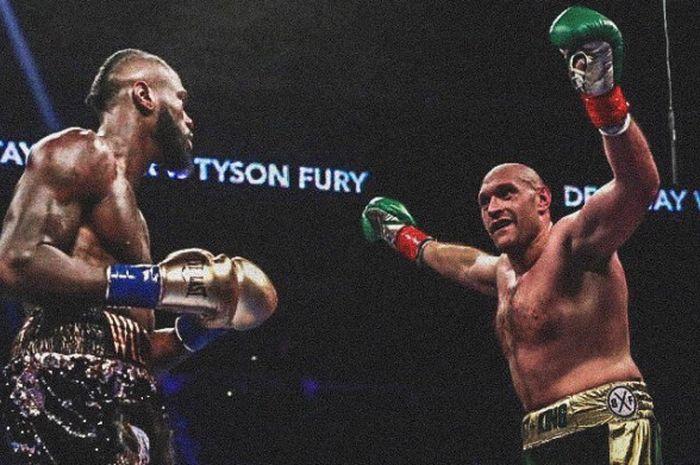 Momen ketika Tyson Fury melakukan aksi provokasi saat bertanding melawan Deontay Wilder di laga tinju kelas berat, Minggu (2/12/2018).