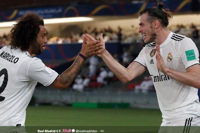 Penyerang Real Madrid, Gareth Bale (kanan) dan Marcelo siap meladeni Al Ain dalam final Piala Dunia Antarklub.