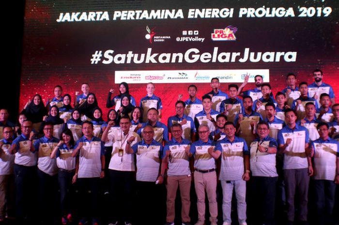 Tim bola voli putra dan putri Jakarta Pertamina Energi untuk Proliga 2018-2019 resmi diluncurkan di Kantor Pusat Pertamina, Jakarta, Kamis (22/11/2018) pagi.