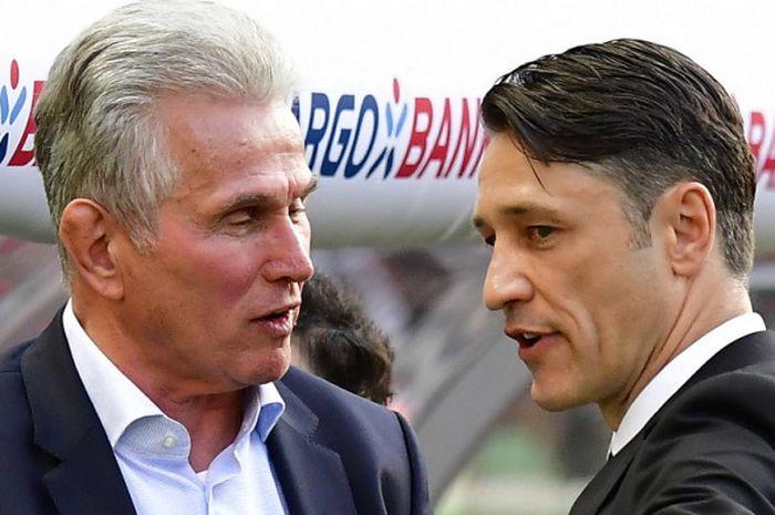 Pelatih Eintracht Frankfurt, Niko Kovac (kanan), berbincang dengan pelatih Bayern Muenchen, Jupp Heynckes, jelang laga final DFB Pokal 2017-2018 di Olympiastadion, Berlin, Jerman, pada Sabtu (19/5/2018).