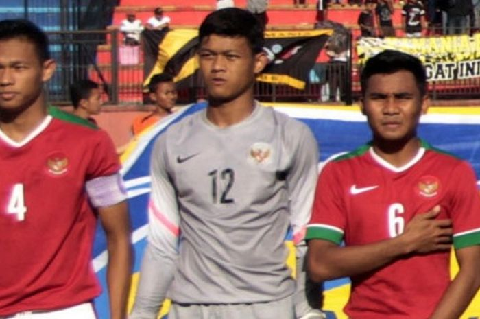 Andy Setyo (kiri) dipercaya sebagai kapten timnas U-22 Indonesia di Piala AFF U-22 2019.