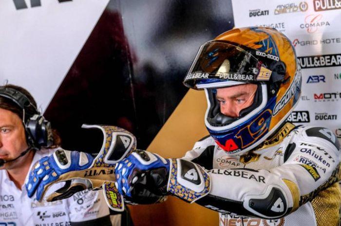 Pebalap Angel Nieto Team, Alvaro Bautista, saat mengikuti seri balap MotoGP Republik Ceska di Sirkuit Brno, Minggu (5/8/2018).