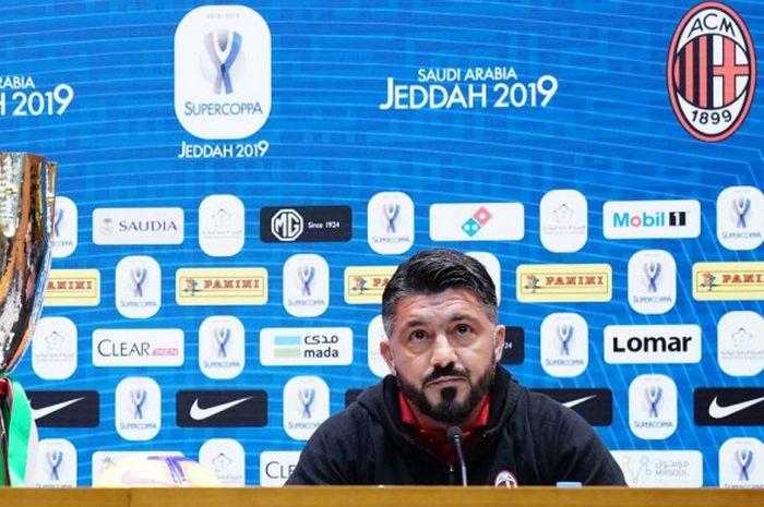 Pelatih AC Milan, Gennaro Gattuso, saat menghadiri konferensi pers jelang Piala Super Italia